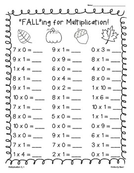 FALL Multiplication Practice Worksheet Pack 6 pages