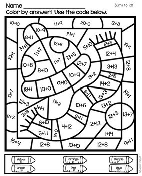Math Coloring Sheets Color by Code for Winter