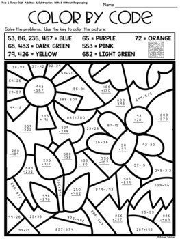 Spring Color by Code Two Digit and Three Digit Addition and Subtraction
