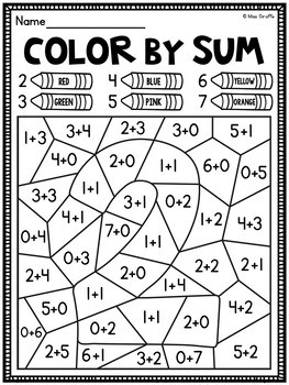 Color by Addition Worksheets to Color by Number Fun