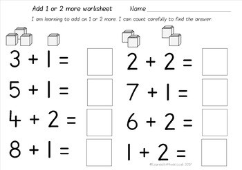 Addition Worksheets Pack add 1 or 2 more