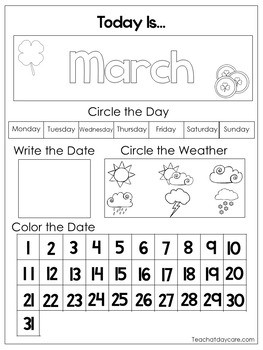 12 Printable Preschool Calendar Worksheet Pages Month Day Date Weather