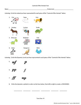 Carnival Of the Animals Worksheet