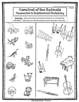 Carnival of the Animals Fun Activity Packet Enhancement Worksheets PDF