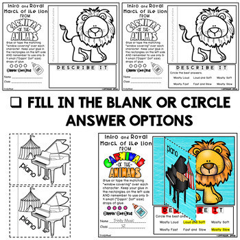 Carnival Of the Animals Worksheets