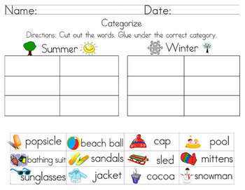 Categorize & Classify Worksheets Including cut and paste