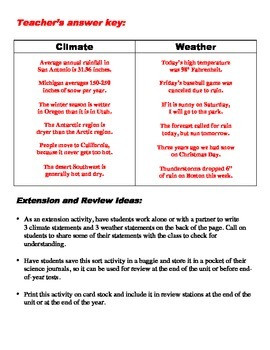 Climate and Weather Worksheets