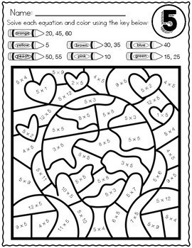 Color by Answer Math Worksheets