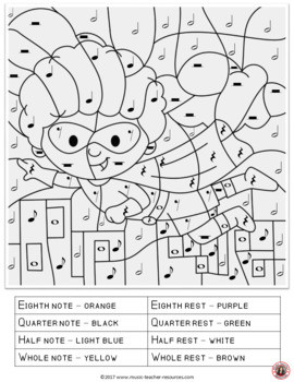 Color by Music Note Worksheets