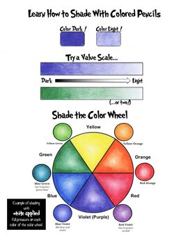 Shading Worksheet with Value Scale and Color Wheel