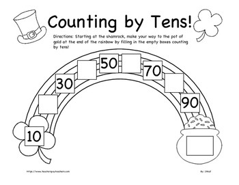 Pot of Gold Counting by Tens Worksheet K 2nd Grade