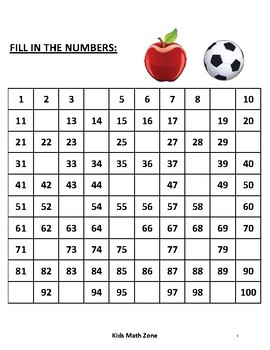 Counting To 100 Worksheet Kindergarden