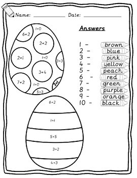 Colour by adding to 10 Maths Easter worksheets Kindergarten Reception Year1