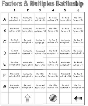 Factor and Multiples Worksheets