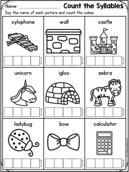Syllables Worksheets Clip Cards Distance Learning Packets First Grade