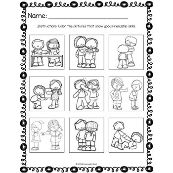 Friendship Classroom Guidance Lesson for Kindergarten and Pre K Counseling