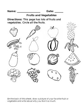 Fruit And Ve able Worksheets