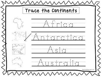 2 Trace the Continents Worksheets Preschool KDG Geography