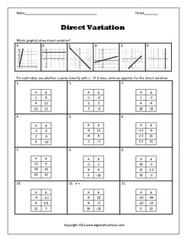 Graphing Using A Table Worksheet
