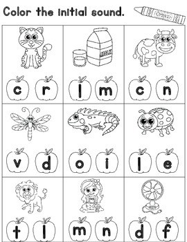 Initial Sound Worksheets for Kindergarten Cut and Paste