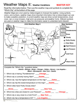 Weather Maps II Practice Current Conditions and Forecast Activity