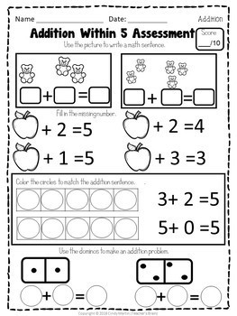 Math Centers Kindergarten Addition within 5 Worksheets and Activities