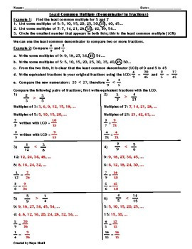 Least mon Denominator paring Fractions Worksheet Teaching and Practice