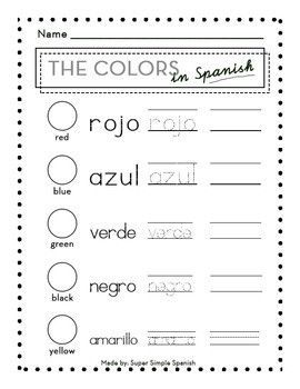 Los Colores Worksheets Spanish