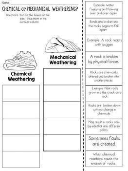 Chemical Weathering or Mechanical Weathering Cut and Paste Sorting Activity