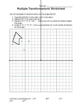 Multiple Transformations Worksheets & Teaching Resources