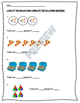Multiplication Grouping Worksheet or Assessment RECENTLY UPDATED