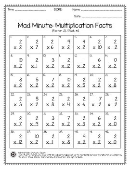 Mad Minute Multiplication Facts 0 12 Pack