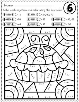 MULTIPLICATION REVIEW Color by Number Worksheets TRICKY FACTS 6 7 8 9 and 12