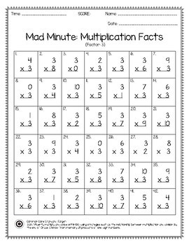 Mad Minute Multiplication Facts Worksheet 0 10 Pack 1