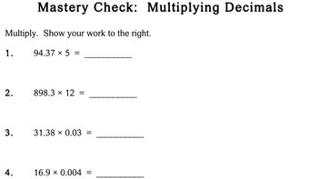Multiplying Decimals 5th 6th grade worksheets Individualized Math