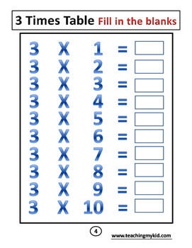 3rd Grade Times Tables Practice Book 20 Printable Worksheets