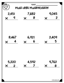 Multiplication Worksheets with Answer Key