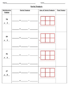 mon Core Aligned Multiplication Using Partial Products & Area Models