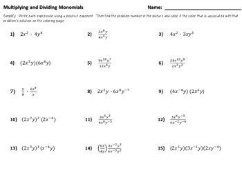Color by Number Multiplying and Dividing Monomials