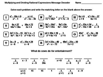Multiplying and Dividing Rational Expressions Worksheet Math Message Decoder
