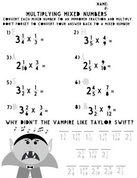 Multiplying Mixed Number Worksheets