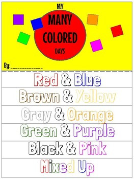 My Many Colored Days Worksheet
