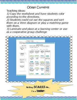 Ocean Currents Coloring Worksheet Deep and Surface Currents