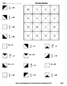 One Step Equations Coloring Worksheet