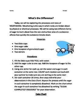Physical and Chemical Weathering Worksheet