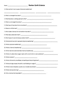 Physical and Chemical Weathering Worksheets