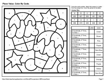 Place Value Coloring Worksheets
