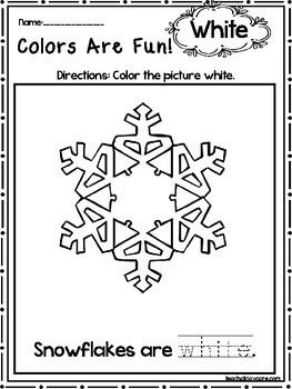 15 White Colors Are Fun Printable Worksheets Preschool KDG Color Recognition