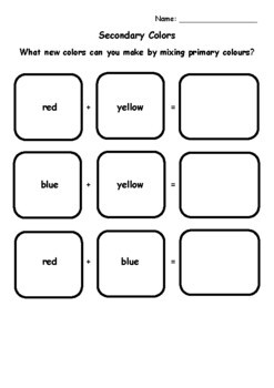 Primary and Secondary Colors Worksheet