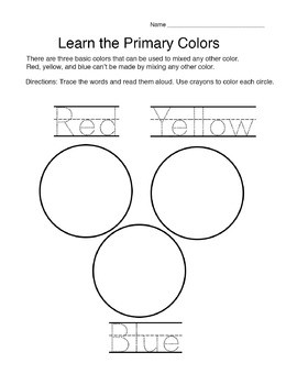 Primary and Secondary Colors Worksheets
